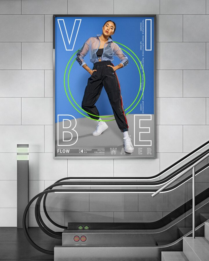 Blank billboard on concrete wall in contemporary train station interior with escalator. Mock up, 3D Rendering