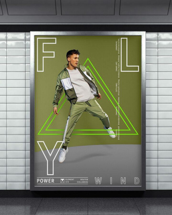 vertical billboard on metro station. 3d rendering